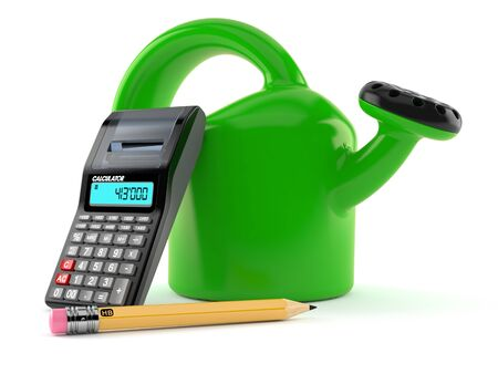 Watering can with calculator and pencil isolated on white background. 3d illustration 写真素材