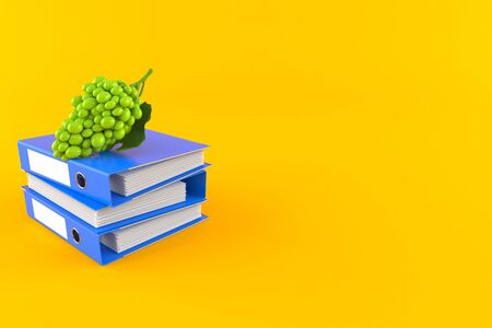 Grape with ring binders isolated on orange background. 3d illustration