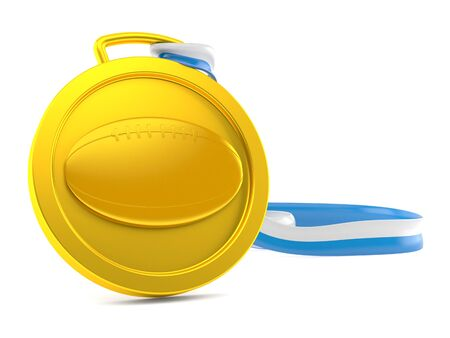 Rugby ball medal isolated on white background. 3d illustration