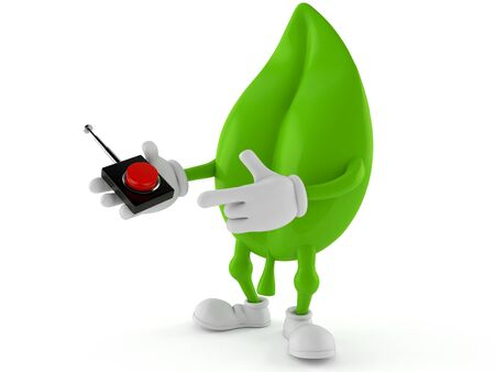 Leaf character pushing button on white background. 3d illustration 写真素材