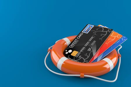 Credit cards with life buoy isolated on blue background. 3d illustration