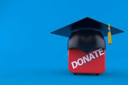 Donate box with mortarboard isolated on blue background. 3d illustration