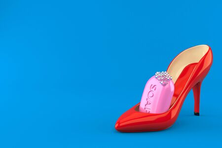 Bar of soap inside high heel isolated on blue background. 3d illustration