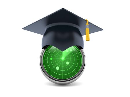 Radar with mortarboard isolated on white background. 3d illustration 版權商用圖片