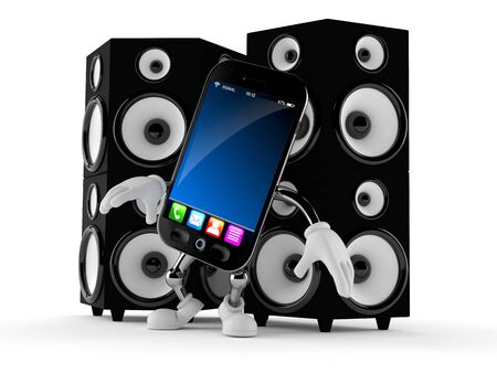 Smart phone character with big speakers isolated on white background. 3d illustration