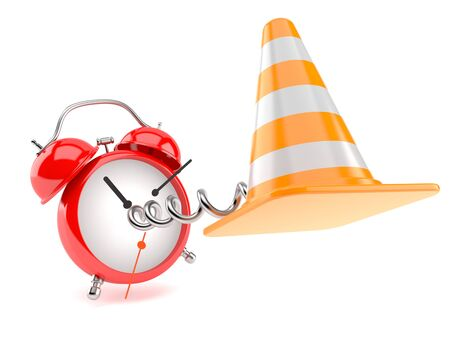 Traffic cone with alarm clock isolated on white background. 3d illustration