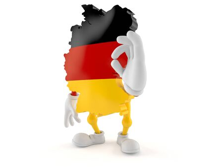 German character with ok gesture isolated on white background. 3d illustration 写真素材
