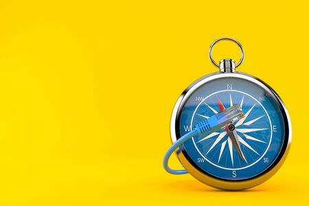 Compass with network cable isolated on orange background. 3d illustration
