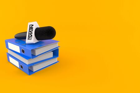 Interview microphone with ring binders isolated on orange background. 3d illustration