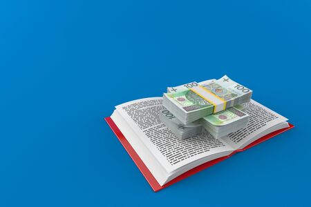 Polish currency on open book isolated on blue background. 3d illustration