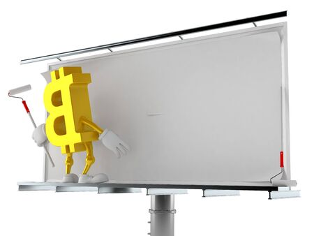 Bitcoin character with blank billboard isolated on white background. 3d illustration