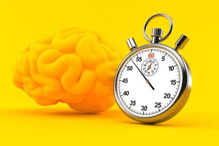 Intelligence background with stopwatch in orange color. 3d illustration
