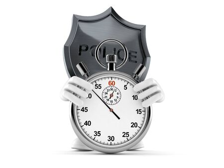 Police badge character with stopwatch isolated on white background. 3d illustration Stok Fotoğraf