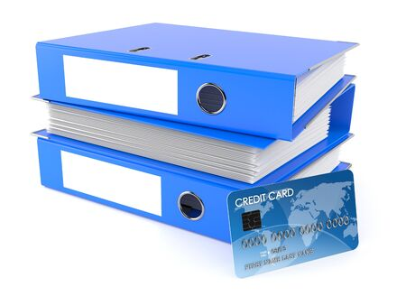 Ring binders with credit card isolated on white background. 3d illustration