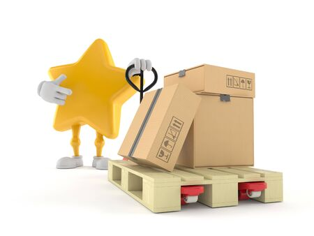 Star character with hand pallet truck with cardboard boxes isolated on white background. 3d illustration