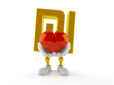 Shekel character holding heart isolated on white background. 3d illustration Banque d'images