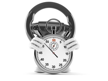 Car steering wheel character with stopwatch isolated on white background. 3d illustration