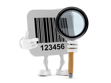 Barcode character with magnifying glass isolated on white background. 3d illustration Stockfoto