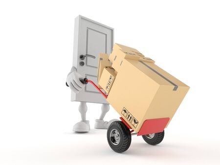 Door character with hand truck isolated on white background. 3d illustration