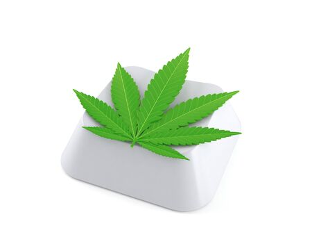 Cannabis leaf on computer key isolated on white background. 3d illustration