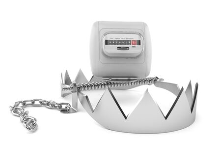 Electricity measure with bear trap isolated on white background. 3d illustration 写真素材