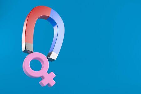 Horseshoe magnet with female gender symbol isolated on blue background. 3d illustration 版權商用圖片