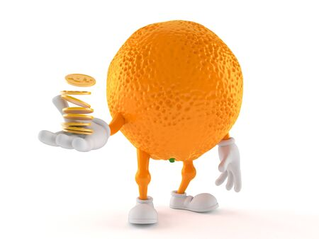 Orange character with stack of coins isolated on white background. 3d illustration