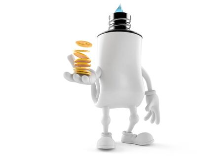 Toothpaste character with stack of coins isolated on white background. 3d illustration Foto de archivo