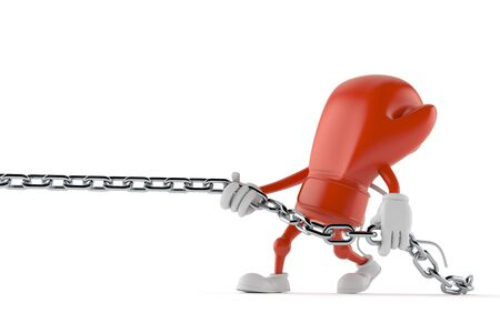 Boxing glove character pulling chain isolated on white background. 3d illustration Archivio Fotografico