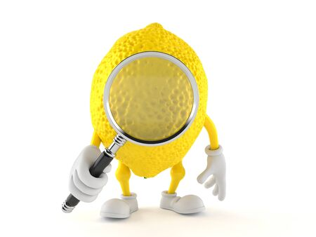 Lemon character looking through magnifying glass isolated on white background. 3d illustration