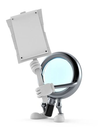 Magnifying glass character holding protest sign isolated on white background. 3d illustration