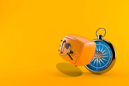 Orange safe with compass isolated on orange background. 3d illustration Stock Photo