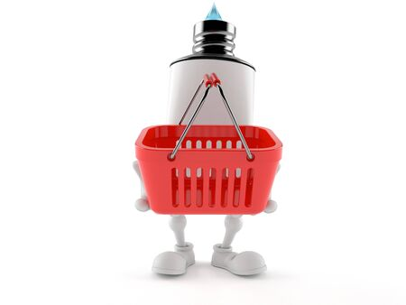 Toothpaste character holding shopping basket isolated on white background. 3d illustration