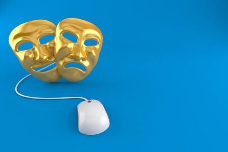 Theater Masks with computer mouse isolated on blue background. 3d illustration