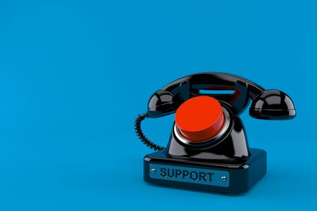 Old telephone with push button isolated on blue background. 3d illustration Фото со стока