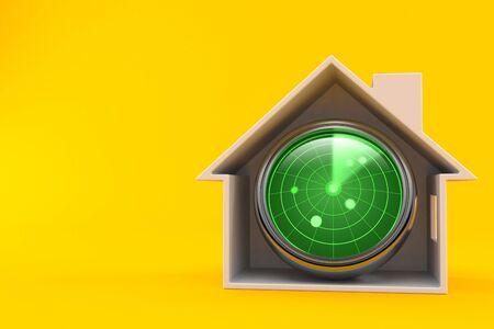 Radar inside house cross-section isolated on orange background. 3d illustration