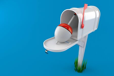 Fishing float inside mailbox isolated on blue background. 3d illustration