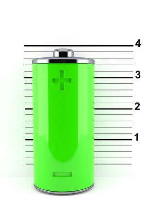 Green battery on mugshot isolated on white background. 3d illustration Foto de archivo - 150077999