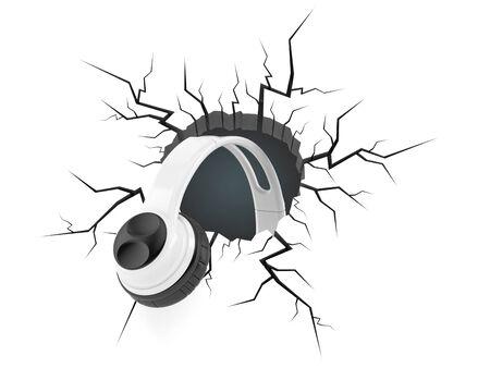 Headphones inside cracked hole isolated on white background. 3d illustration Foto de archivo - 150113661
