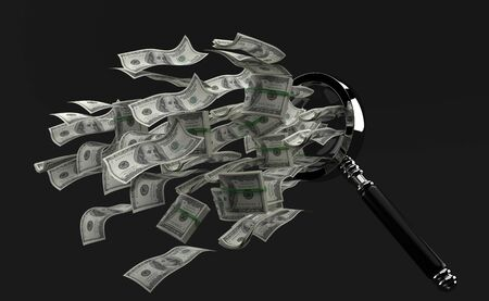 Dollars flying out through the magnifying glass on grey background. 3d illustration Stockfoto