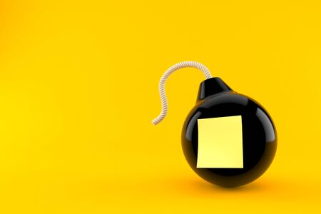 Bomb with blank yellow sticker isolated on orange background. 3d illustration