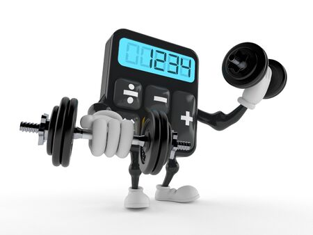Calculator character with dumbbells isolated on white background. 3d illustration
