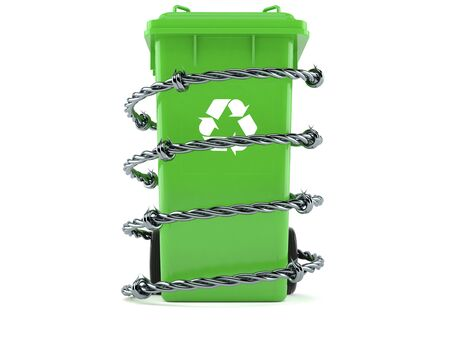 Dustbin with barbed wire isolated on white background. 3d illustration Stockfoto