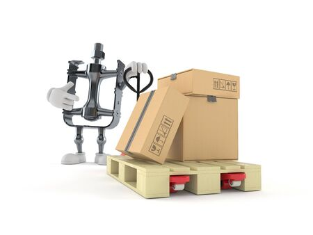 Bicycle pedal character with hand pallet truck with cardboard boxes isolated on white background. 3d illustration 写真素材