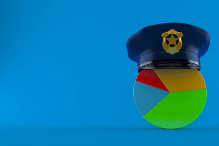 Pie chart with police hat isolated on blue background. 3d illustration