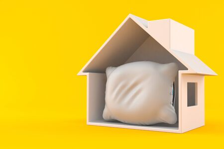 Pillow inside house cross-section isolated on orange background. 3d illustration