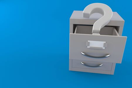 Question mark inside archive isolated on blue background. 3d illustration Archivio Fotografico - 150499094