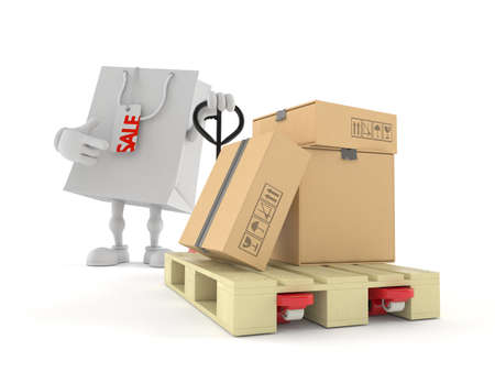Shopping bag character with hand pallet truck with cardboard boxes isolated on white background. 3d illustration 写真素材