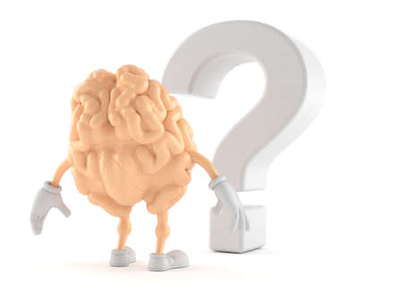 Brain character looking at question mark symbol isolated on white background. 3d illustration Reklamní fotografie