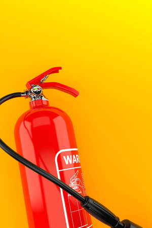 Fire extinguisher on orange background. 3d illustration Standard-Bild - 151216717
